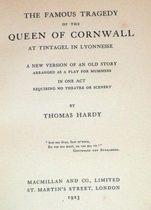 The Famous Tragedy of the Queen of Cornwall, at Tintagel in Lyonnesse