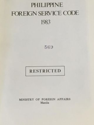 Philippine Foreign Service Code 1983