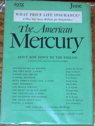 The American Mercury, June 1935. H L. Mencken, Ford Madox Ford James T. Farrell, others